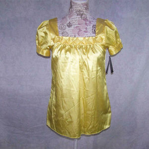 A Byer Blouse Short Sleeves Stretch Yellow
